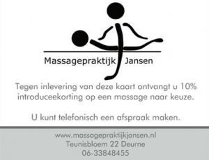 Introduceekorting - Massagepraktijk Jansen